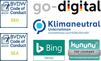 BVDW CoC SEO & SEA - Bing Partner - kununu Top Company - klimaneutral - godigital