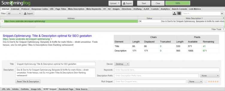 screaming frog serp snippet tool