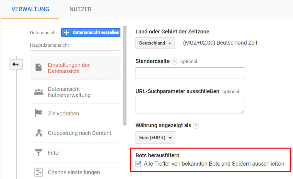 Bots herausfiltern-Einstellung in Google Analytics
