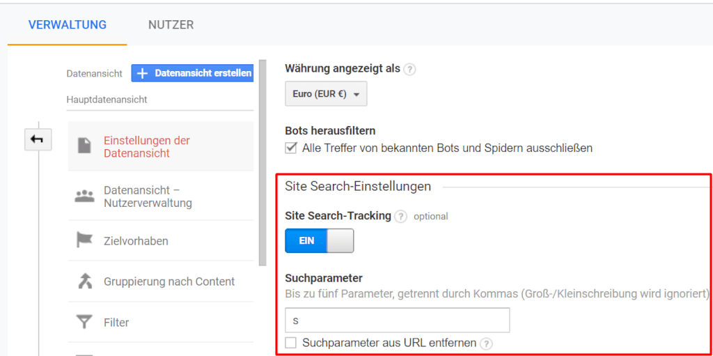 Site Search Aktivierung in Google Analytics
